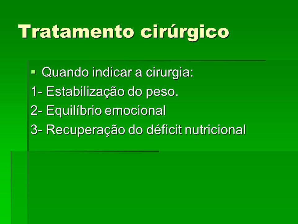 Tratamento cirúrgico Quando indicar a cirurgia: Quando indicar a cirurgia: 1- Estabilização do peso. 2- Equilíbrio emocional 3- Recuperação do déficit