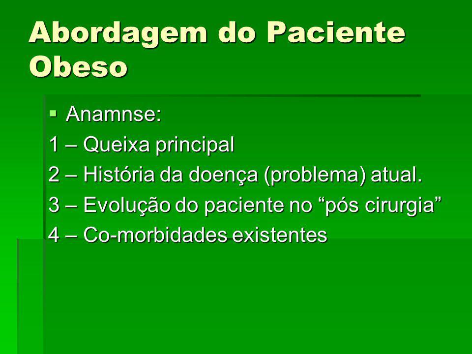 Abordagem do Paciente Obeso Anamnse: Anamnse: 1 – Queixa principal 2 – História da doença (problema) atual. 3 – Evolução do paciente no pós cirurgia 4