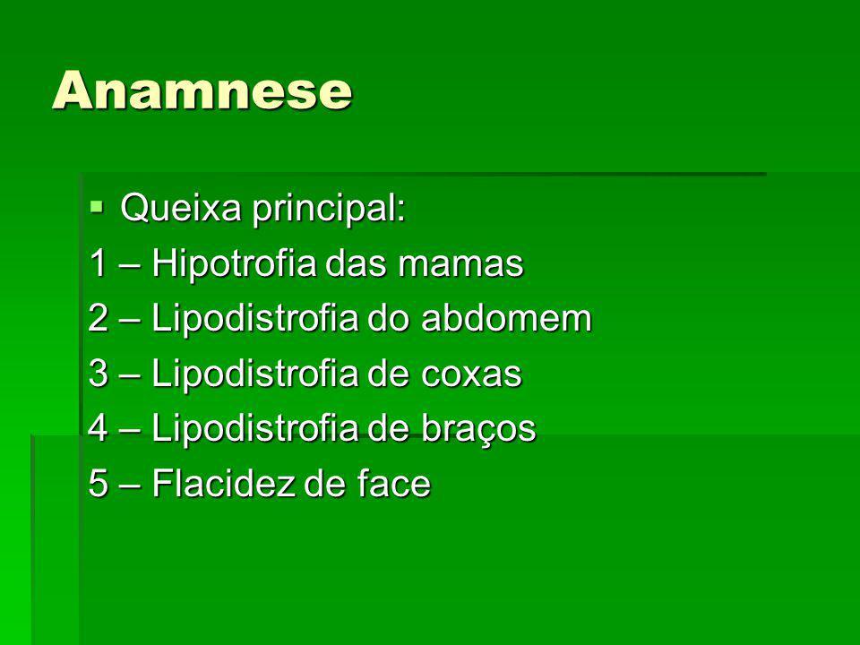 Anamnese Queixa principal: Queixa principal: 1 – Hipotrofia das mamas 2 – Lipodistrofia do abdomem 3 – Lipodistrofia de coxas 4 – Lipodistrofia de bra