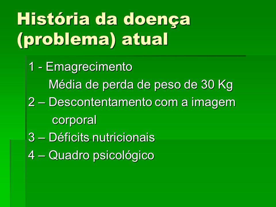 História da doença (problema) atual 1 - Emagrecimento Média de perda de peso de 30 Kg Média de perda de peso de 30 Kg 2 – Descontentamento com a image