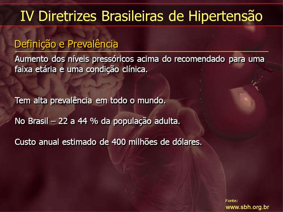 Fonte: www.sbh.org.br IV Diretrizes Brasileiras de Hipertensão Aumento dos níveis pressóricos acima do recomendado para uma faixa etária e uma condiçã