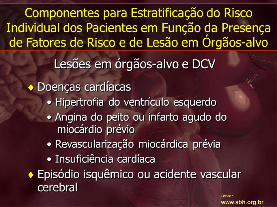 Fonte: www.sbh.org.br Lesões em órgãos-alvo e DCV Doenças cardíacas Hipertrofia do ventrículo esquerdo Angina do peito ou infarto agudo do miocárdio p