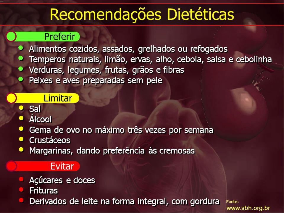 Fonte: www.sbh.org.br Alimentos cozidos, assados, grelhados ou refogados Temperos naturais, limão, ervas, alho, cebola, salsa e cebolinha Verduras, le