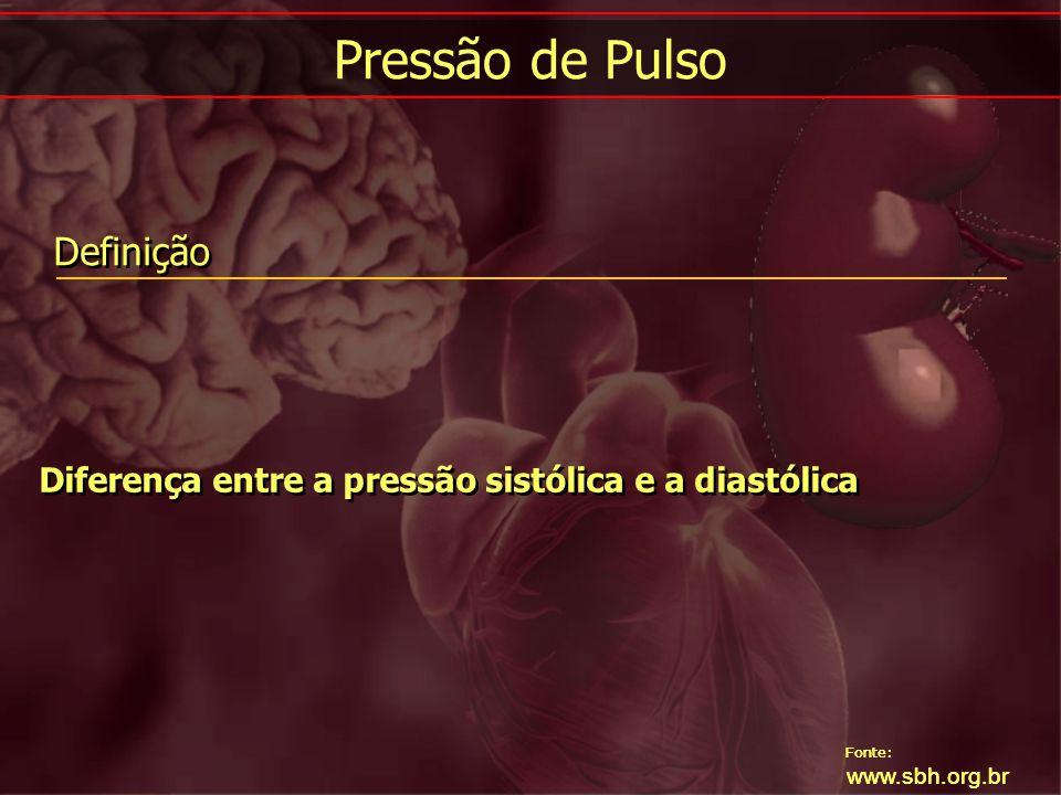 Fonte: www.sbh.org.br Início da hipertensão antes dos 30 ou após os 50 anos Hipertensão arterial grave (estágio 3) e/ou resistente à terapia Tríade do feocromocitoma: palpitações, sudorese e cefaléia em crises Uso de fármacos e drogas que possam elevar a PA Fácies ou biotipo de doença que cursa com hipertensão; doença renal, hipertireoidismo, acromegalia, síndrome de Cushing Presença de massas ou sopros abdominais Assimetria de pulsos femorais Aumento de creatinina sérica Hipopotassemia espontânea (< 3,0 mEq/l) Exame de urina anormal (proteinúria ou hematúria) Início da hipertensão antes dos 30 ou após os 50 anos Hipertensão arterial grave (estágio 3) e/ou resistente à terapia Tríade do feocromocitoma: palpitações, sudorese e cefaléia em crises Uso de fármacos e drogas que possam elevar a PA Fácies ou biotipo de doença que cursa com hipertensão; doença renal, hipertireoidismo, acromegalia, síndrome de Cushing Presença de massas ou sopros abdominais Assimetria de pulsos femorais Aumento de creatinina sérica Hipopotassemia espontânea (< 3,0 mEq/l) Exame de urina anormal (proteinúria ou hematúria) Indícios de Hipertensão Secundária