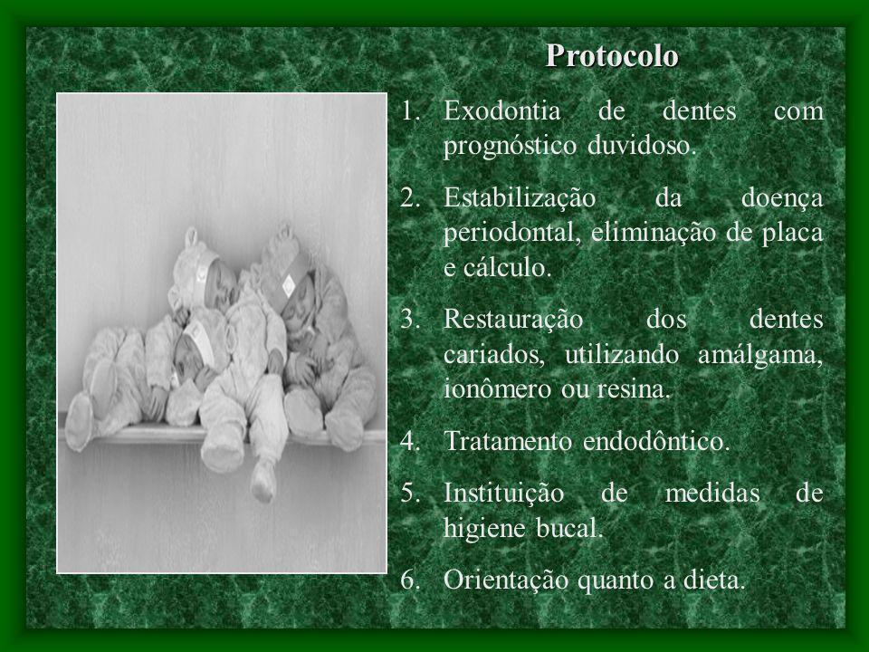 Protocolo 1.Exodontia de dentes com prognóstico duvidoso.