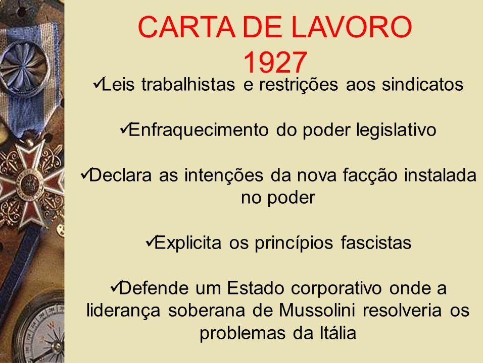CARTA DE LAVORO 1927 Leis trabalhistas e restrições aos sindicatos Enfraquecimento do poder legislativo Declara as intenções da nova facção instalada no poder Explicita os princípios fascistas Defende um Estado corporativo onde a liderança soberana de Mussolini resolveria os problemas da Itália