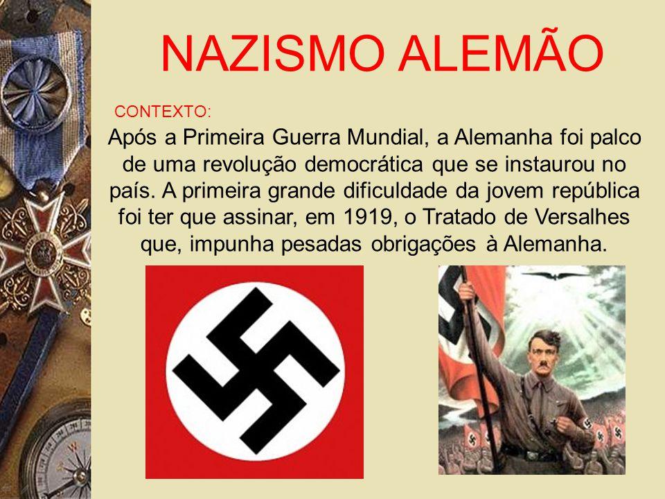 NAZISMO ALEMÃO CONTEXTO: Após a Primeira Guerra Mundial, a Alemanha foi palco de uma revolução democrática que se instaurou no país.