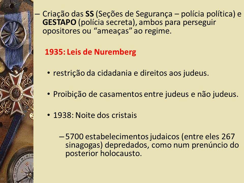 – Criação das SS (Seções de Segurança – polícia política) e GESTAPO (polícia secreta), ambos para perseguir opositores ou ameaças ao regime.