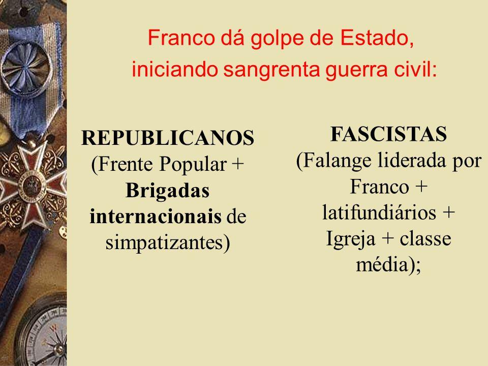REPUBLICANOS (Frente Popular + Brigadas internacionais de simpatizantes) FASCISTAS (Falange liderada por Franco + latifundiários + Igreja + classe média); Franco dá golpe de Estado, iniciando sangrenta guerra civil: