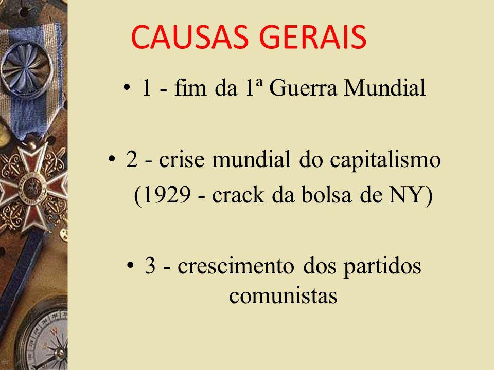 CAUSAS GERAIS 1 - fim da 1ª Guerra Mundial 2 - crise mundial do capitalismo (1929 - crack da bolsa de NY) 3 - crescimento dos partidos comunistas