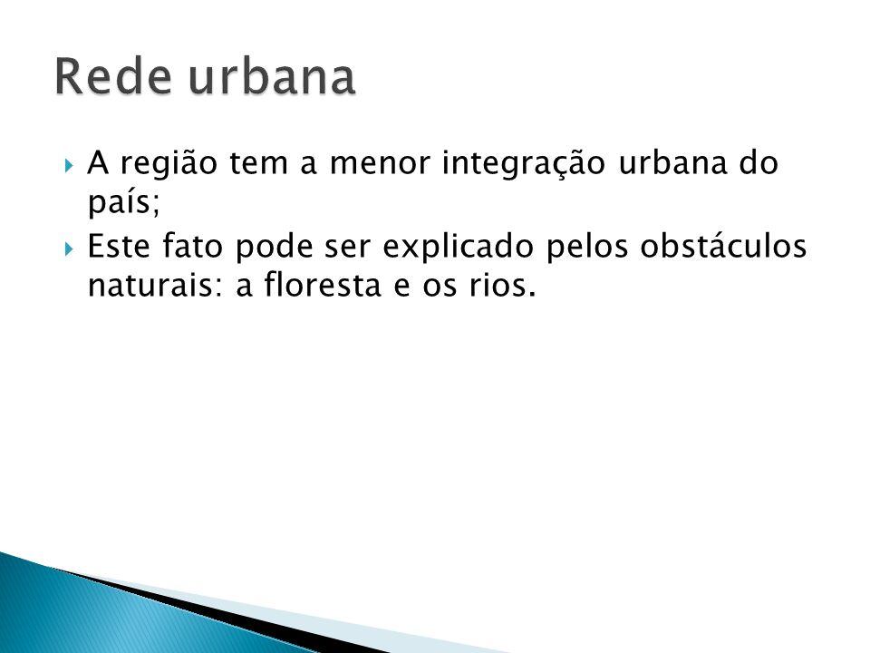 A região tem a menor integração urbana do país; Este fato pode ser explicado pelos obstáculos naturais: a floresta e os rios.