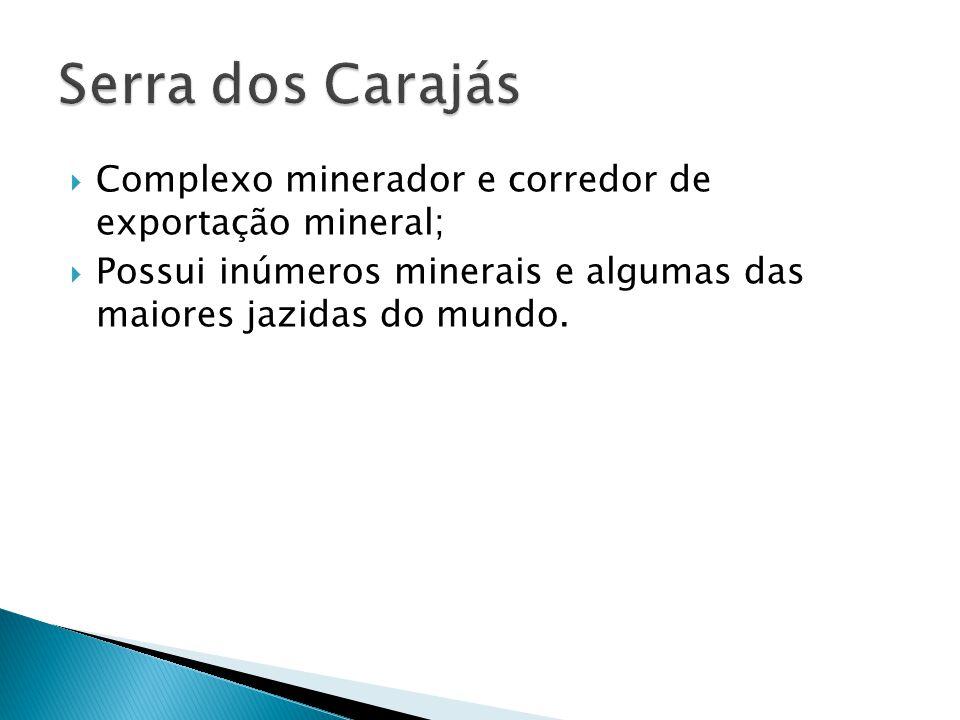 Complexo minerador e corredor de exportação mineral; Possui inúmeros minerais e algumas das maiores jazidas do mundo.