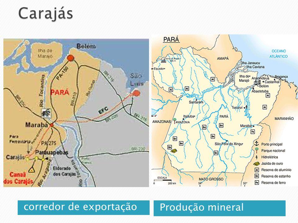 corredor de exportação Produção mineral