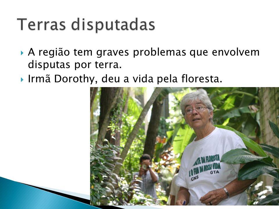 A região tem graves problemas que envolvem disputas por terra. Irmã Dorothy, deu a vida pela floresta.