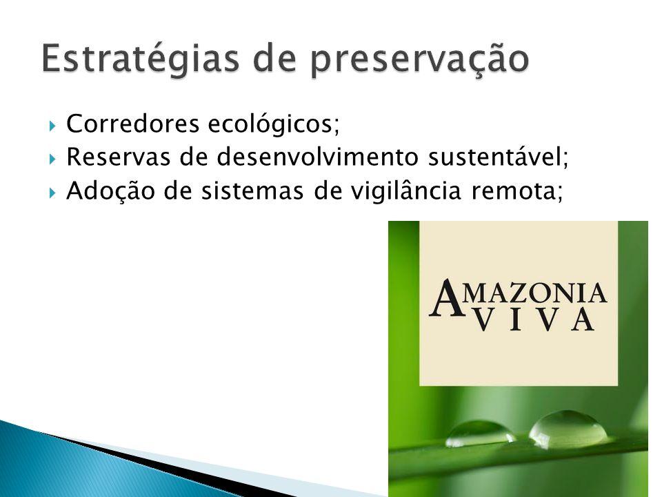 Corredores ecológicos; Reservas de desenvolvimento sustentável; Adoção de sistemas de vigilância remota;