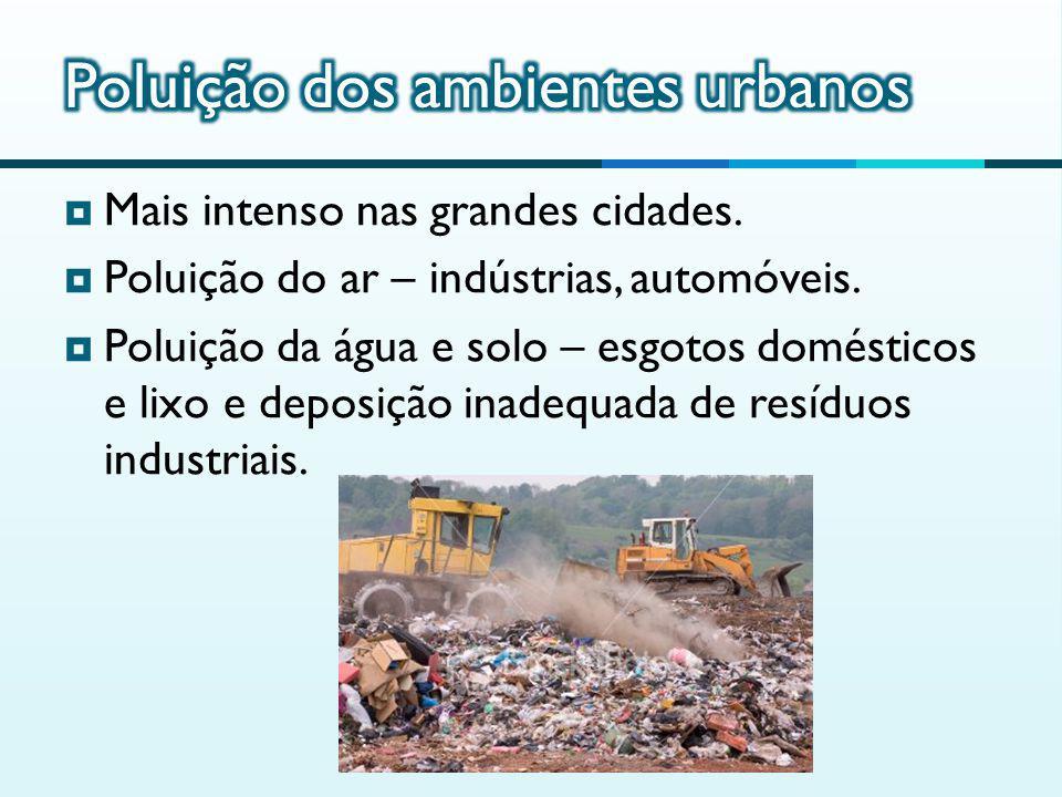 Mais intenso nas grandes cidades.Poluição do ar – indústrias, automóveis.