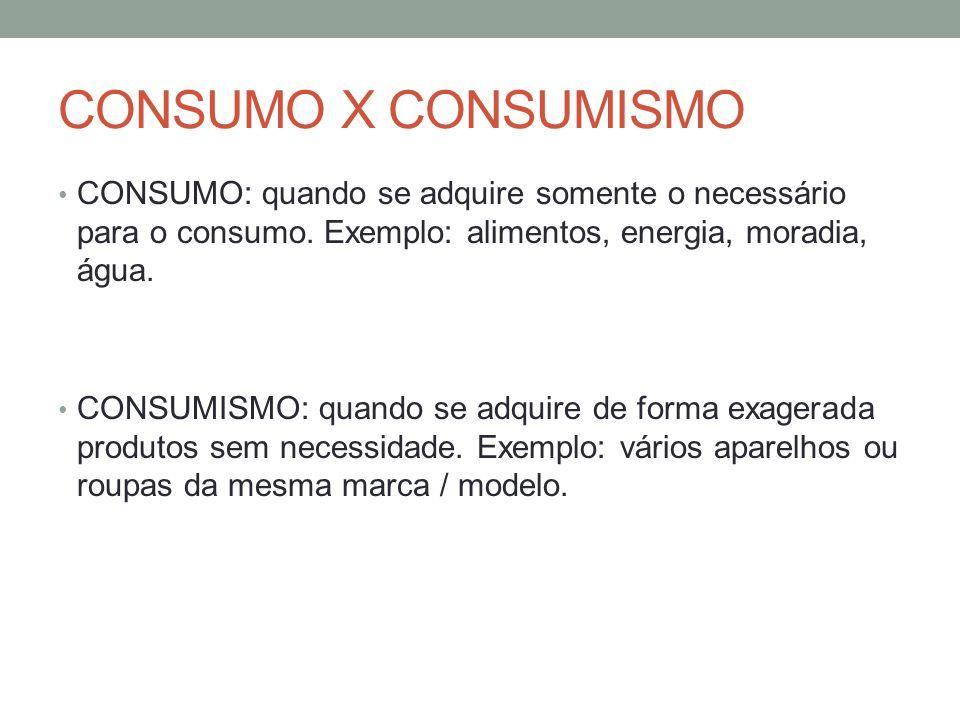 CONSUMO X CONSUMISMO CONSUMO: quando se adquire somente o necessário para o consumo. Exemplo: alimentos, energia, moradia, água. CONSUMISMO: quando se