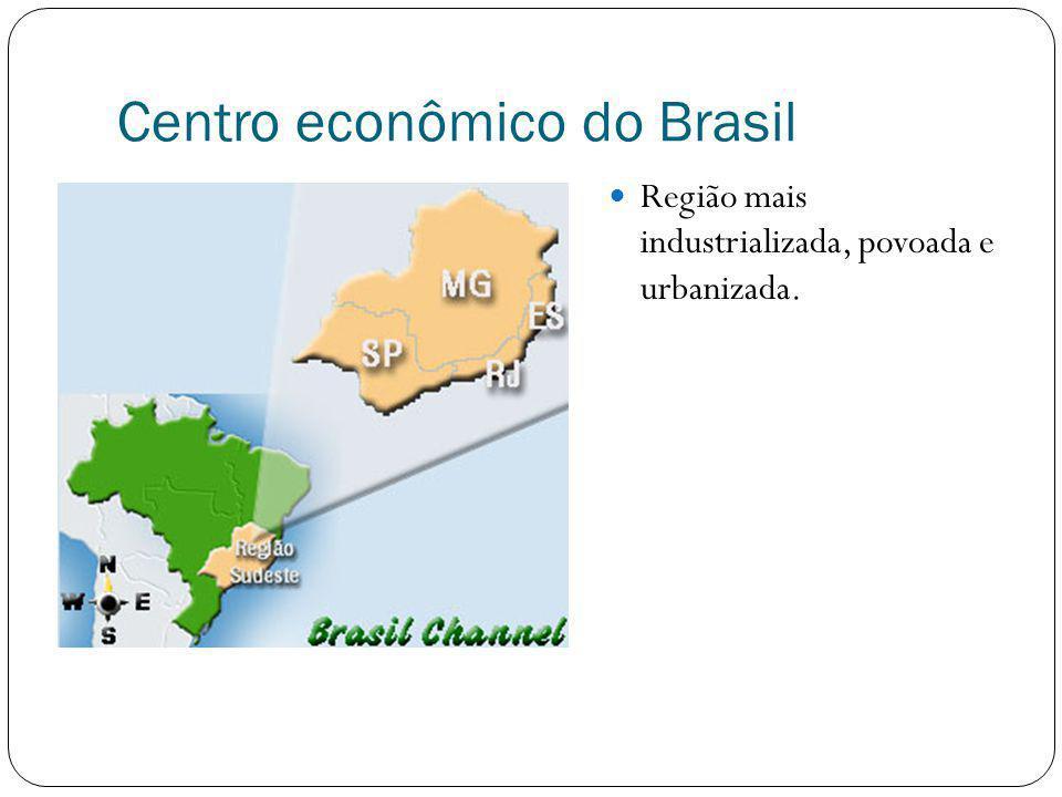 Centro econômico do Brasil Região mais industrializada, povoada e urbanizada.