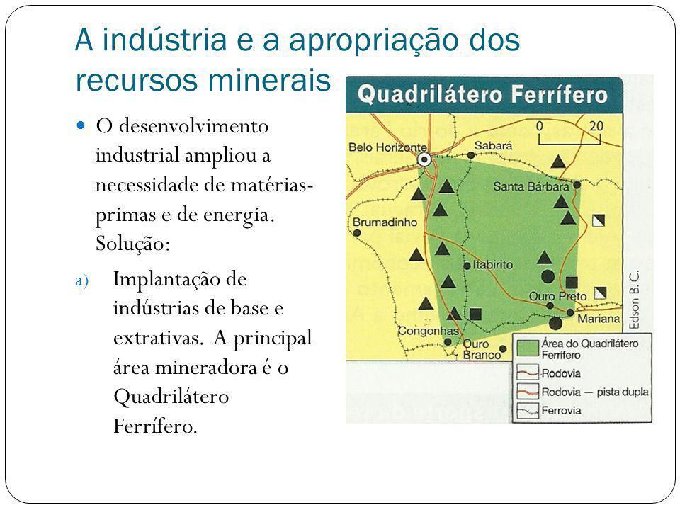 A indústria e a apropriação dos recursos minerais O desenvolvimento industrial ampliou a necessidade de matérias- primas e de energia. Solução: a) Imp