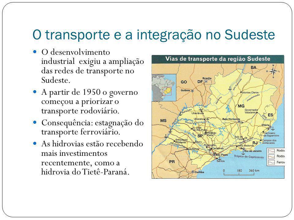 O transporte e a integração no Sudeste O desenvolvimento industrial exigiu a ampliação das redes de transporte no Sudeste. A partir de 1950 o governo