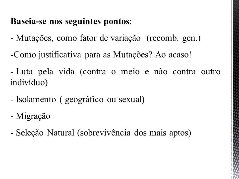 Baseia-se nos seguintes pontos: - Mutações, como fator de variação (recomb. gen.) -Como justificativa para as Mutações? Ao acaso! - Luta pela vida (co