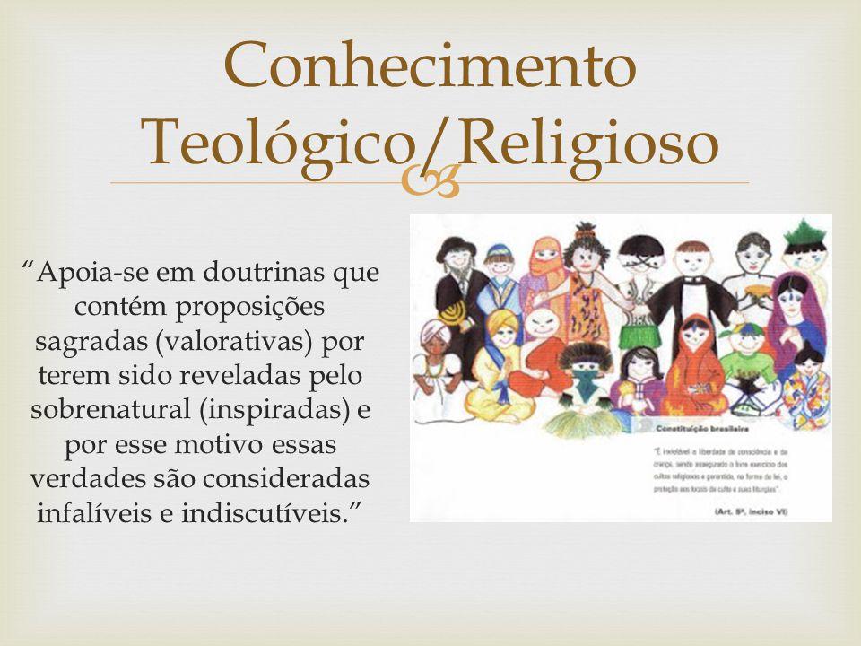 Conhecimento Teológico/Religioso Apoia-se em doutrinas que contém proposições sagradas (valorativas) por terem sido reveladas pelo sobrenatural (inspiradas) e por esse motivo essas verdades são consideradas infalíveis e indiscutíveis.