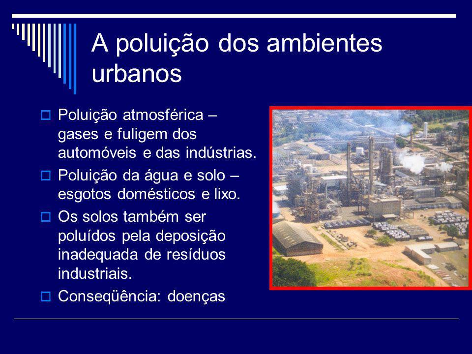 A poluição dos ambientes urbanos Poluição atmosférica – gases e fuligem dos automóveis e das indústrias. Poluição da água e solo – esgotos domésticos