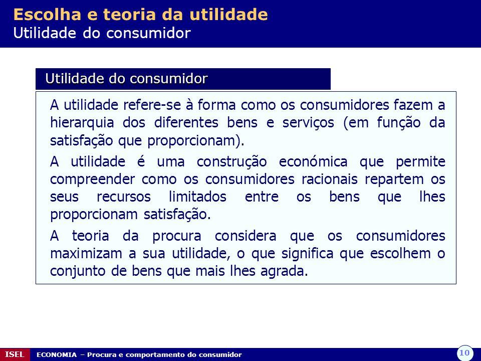 10 ISEL ECONOMIA – Procura e comportamento do consumidor Escolha e teoria da utilidade Utilidade do consumidor Utilidade do consumidor Utilidade do co