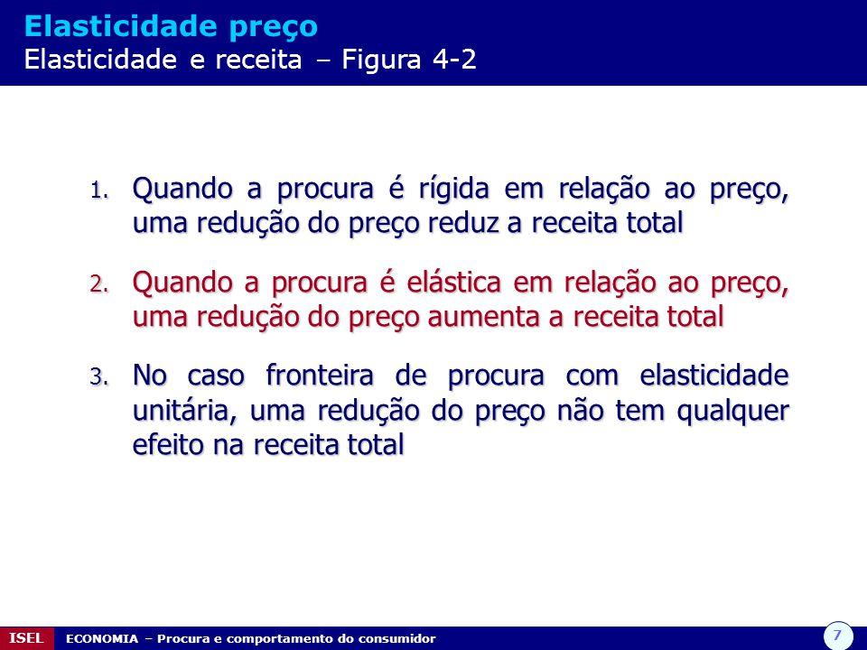 7 ISEL ECONOMIA – Procura e comportamento do consumidor Elasticidade preço Elasticidade e receita – Figura 4-2 1. Quando a procura é rígida em relação