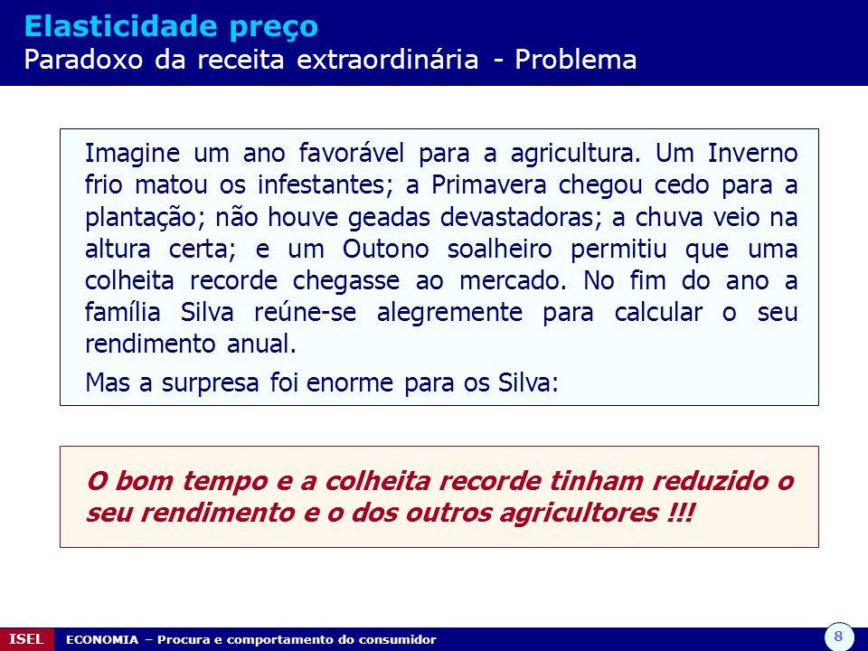 9 ISEL ECONOMIA – Procura e comportamento do consumidor Elasticidade preço Paradoxo da receita extraordinária - Solução A procura de produtos alimentares básicos como o trigo e o milho tende a ser rígida.