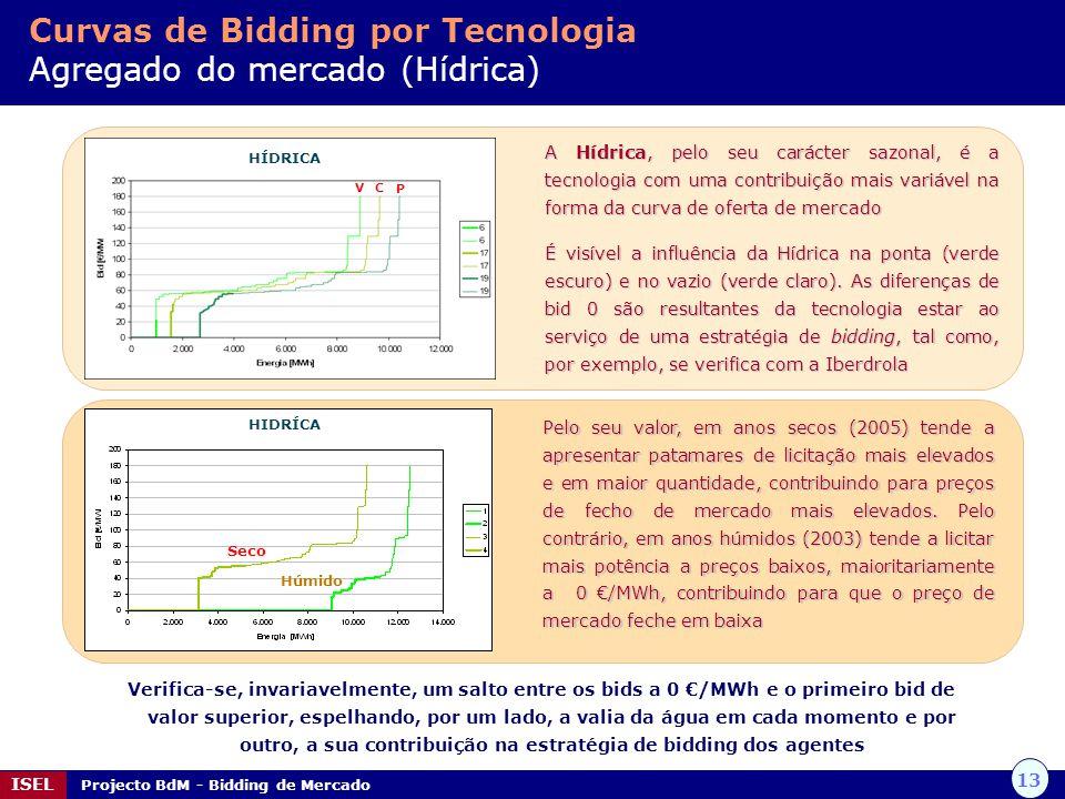 13 ISEL Projecto BdM - Bidding de Mercado Curvas de Bidding por Tecnologia Agregado do mercado (Hídrica) HÍDRICA A Hídrica, pelo seu carácter sazonal,
