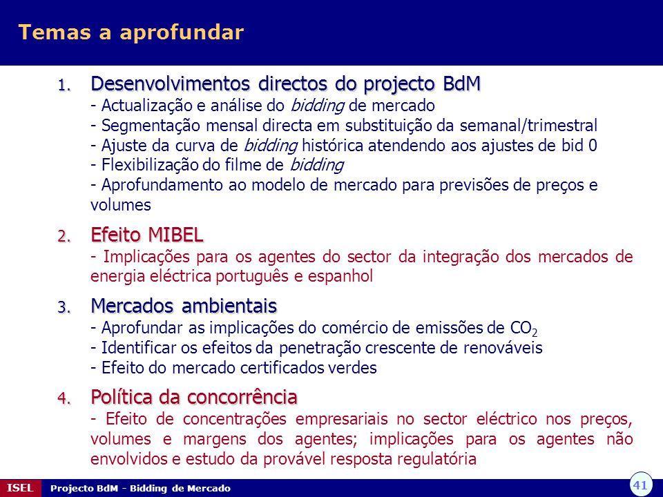 41 ISEL Projecto BdM - Bidding de Mercado Temas a aprofundar 1. Desenvolvimentos directos do projecto BdM - Actualização e análise do bidding de merca