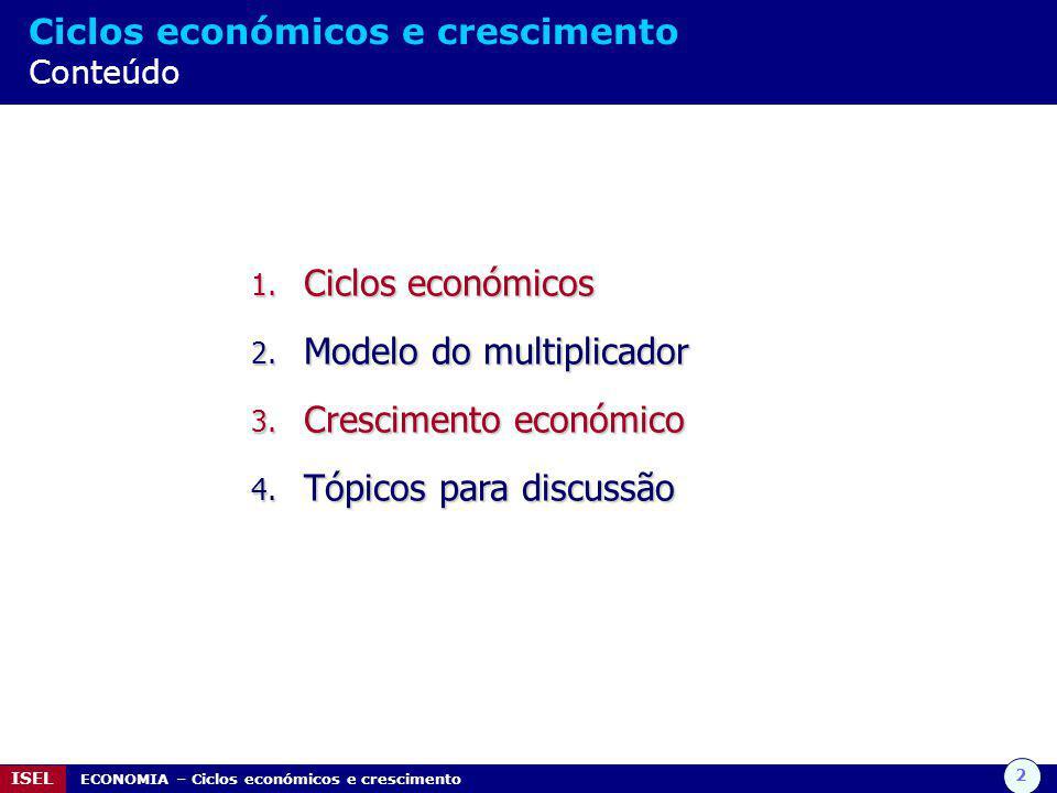 2 ISEL ECONOMIA – Ciclos económicos e crescimento Ciclos económicos e crescimento Conteúdo 1.