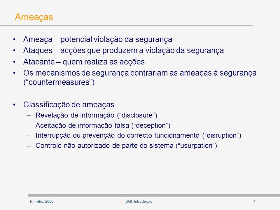 P.Félix, 200615SGI: Introdução Segurança de Computadores D.