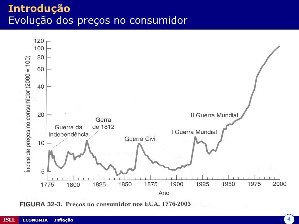 4 ISEL ECONOMIA – Inflação Introdução Evolução dos preços no consumidor