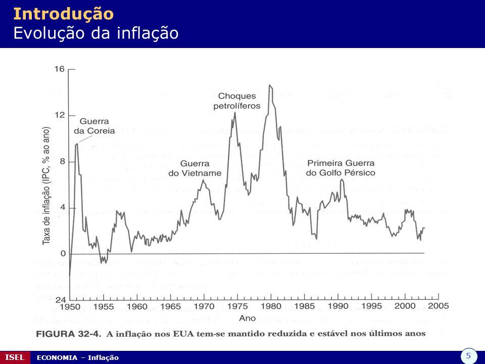 5 ISEL ECONOMIA – Inflação Introdução Evolução da inflação