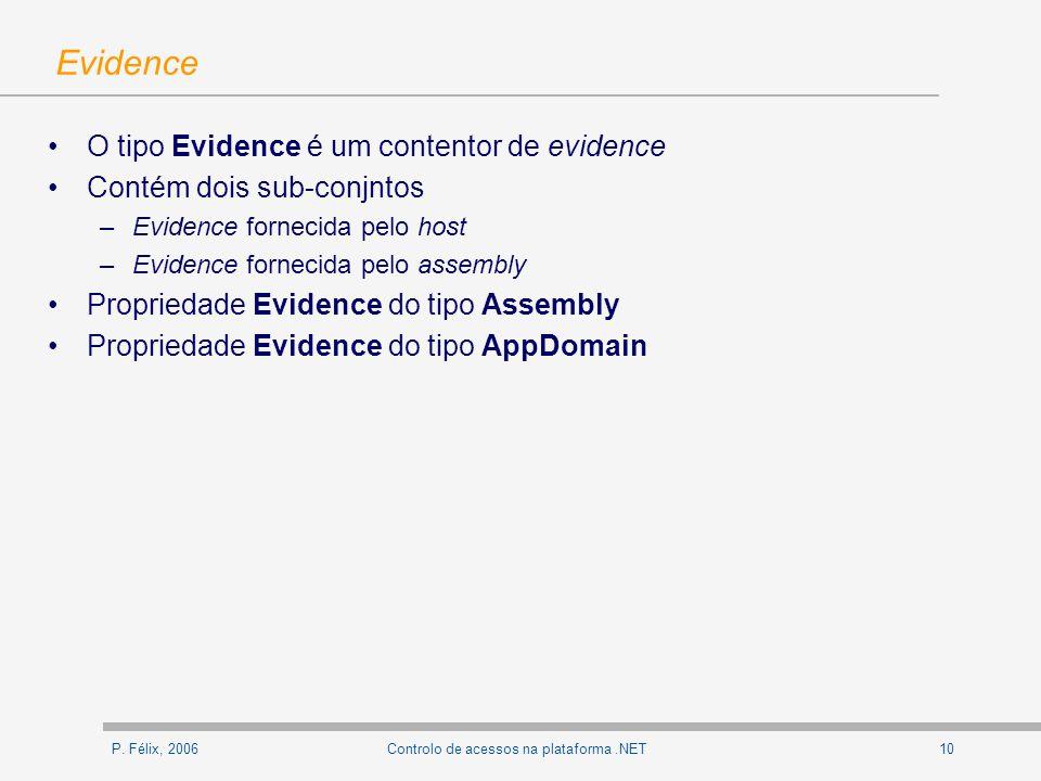 P. Félix, 200610Controlo de acessos na plataforma.NET Evidence O tipo Evidence é um contentor de evidence Contém dois sub-conjntos –Evidence fornecida