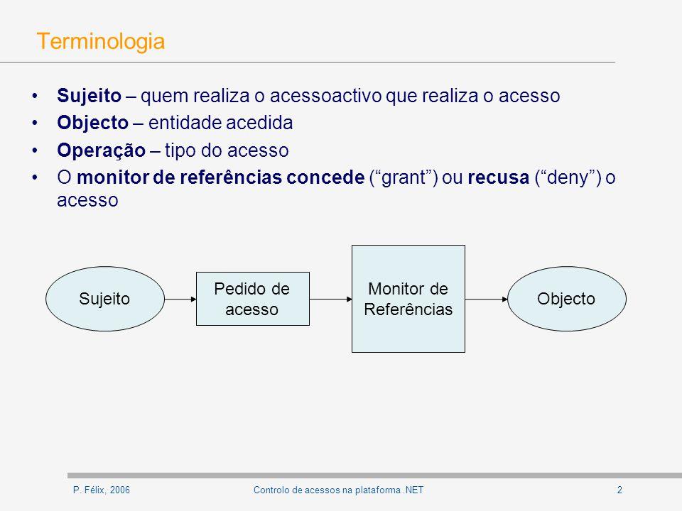 P. Félix, 20062Controlo de acessos na plataforma.NET Terminologia Sujeito – quem realiza o acessoactivo que realiza o acesso Objecto – entidade acedid