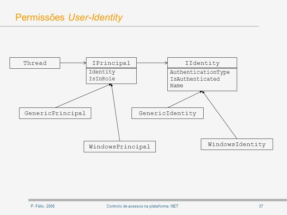 P. Félix, 200637Controlo de acessos na plataforma.NET Permissões User-Identity IPrincipal Identity IsInRole ThreadIIdentity AuthenticationType IsAuthe