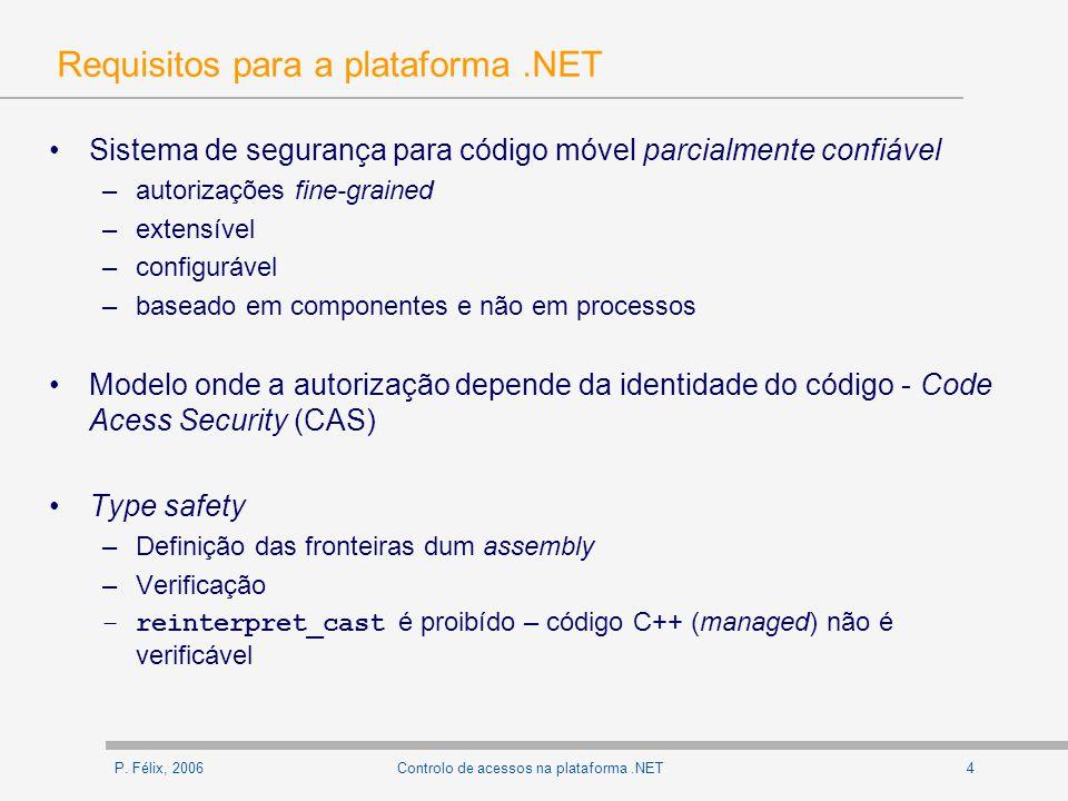 P. Félix, 20064Controlo de acessos na plataforma.NET Requisitos para a plataforma.NET Sistema de segurança para código móvel parcialmente confiável –a