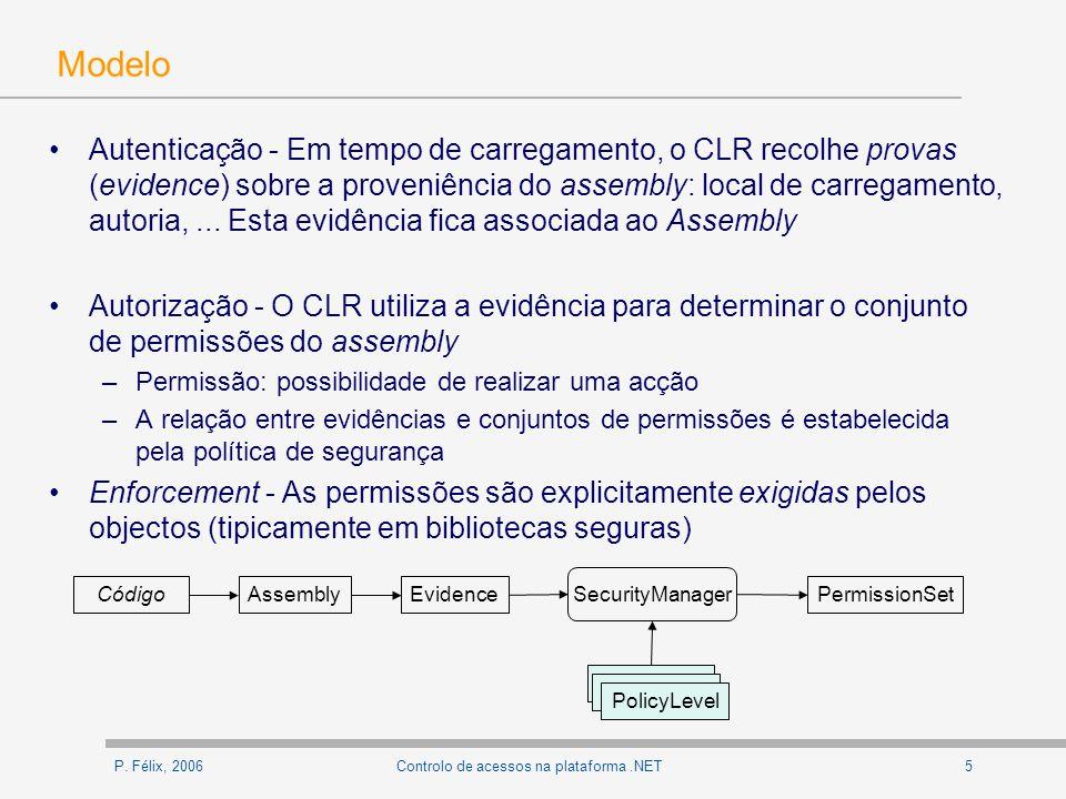 P. Félix, 20065Controlo de acessos na plataforma.NET Modelo Autenticação - Em tempo de carregamento, o CLR recolhe provas (evidence) sobre a proveniên