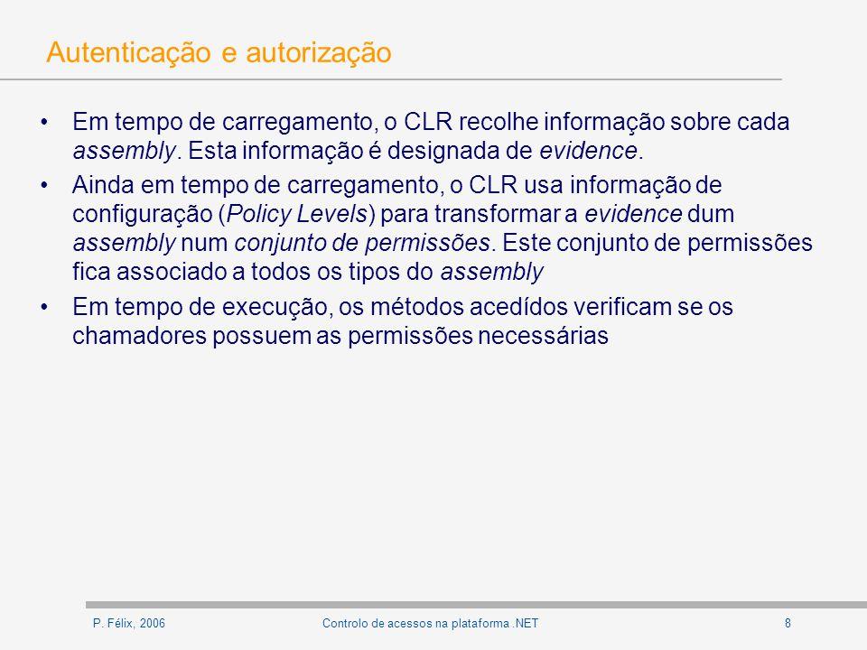 P. Félix, 20068Controlo de acessos na plataforma.NET Autenticação e autorização Em tempo de carregamento, o CLR recolhe informação sobre cada assembly