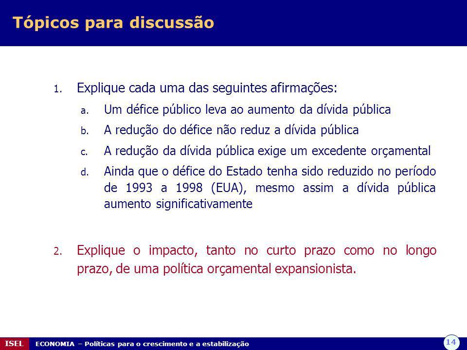 14 ISEL ECONOMIA – Políticas para o crescimento e a estabilização Tópicos para discussão 1. Explique cada uma das seguintes afirmações: a. Um défice p