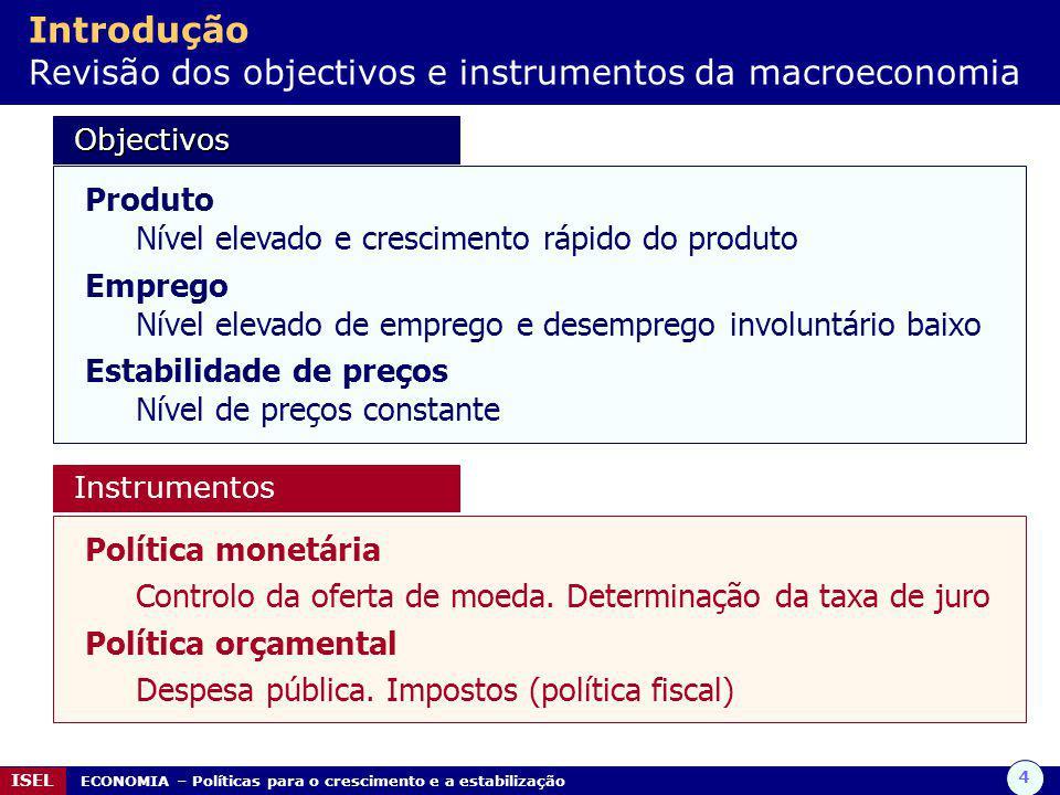 4 ISEL ECONOMIA – Políticas para o crescimento e a estabilização Introdução Revisão dos objectivos e instrumentos da macroeconomia Objectivos Objectiv