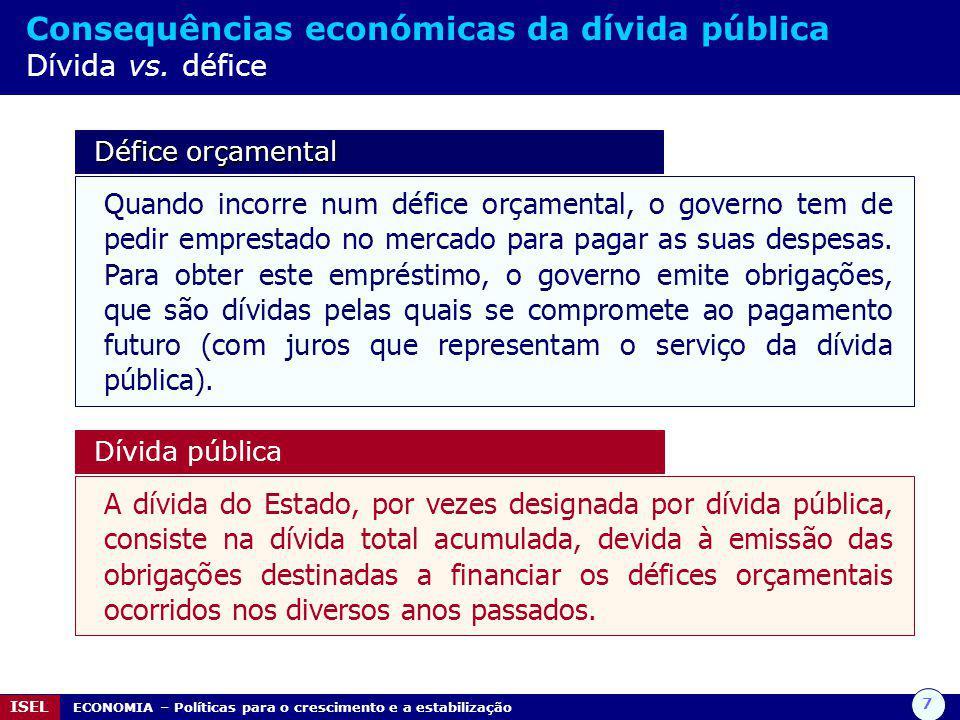 7 ISEL ECONOMIA – Políticas para o crescimento e a estabilização Consequências económicas da dívida pública Dívida vs. défice Défice orçamental Défice