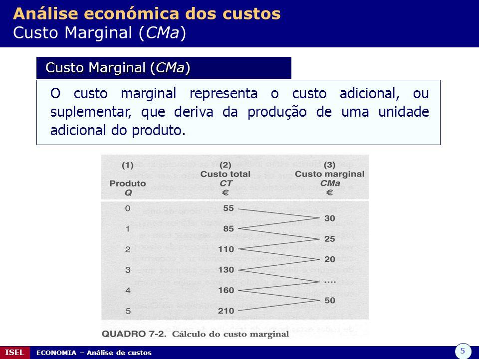 5 ISEL ECONOMIA – Análise de custos Análise económica dos custos Custo Marginal (CMa) Custo Marginal (CMa) Custo Marginal (CMa) O custo marginal representa o custo adicional, ou suplementar, que deriva da produção de uma unidade adicional do produto.