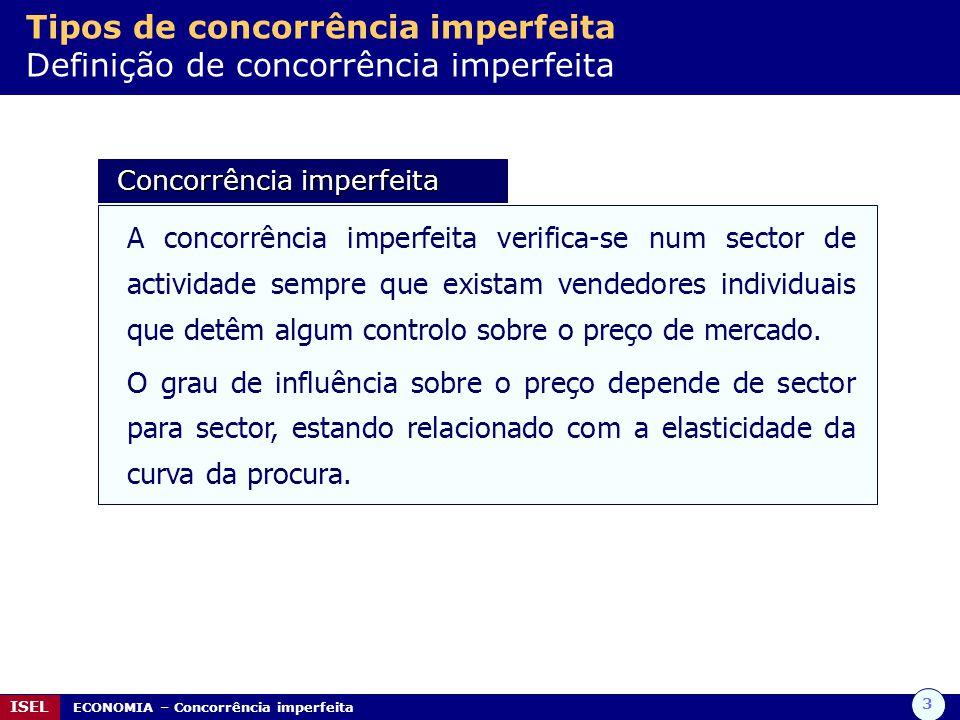 3 ISEL ECONOMIA – Concorrência imperfeita Tipos de concorrência imperfeita Definição de concorrência imperfeita Concorrência imperfeita Concorrência i