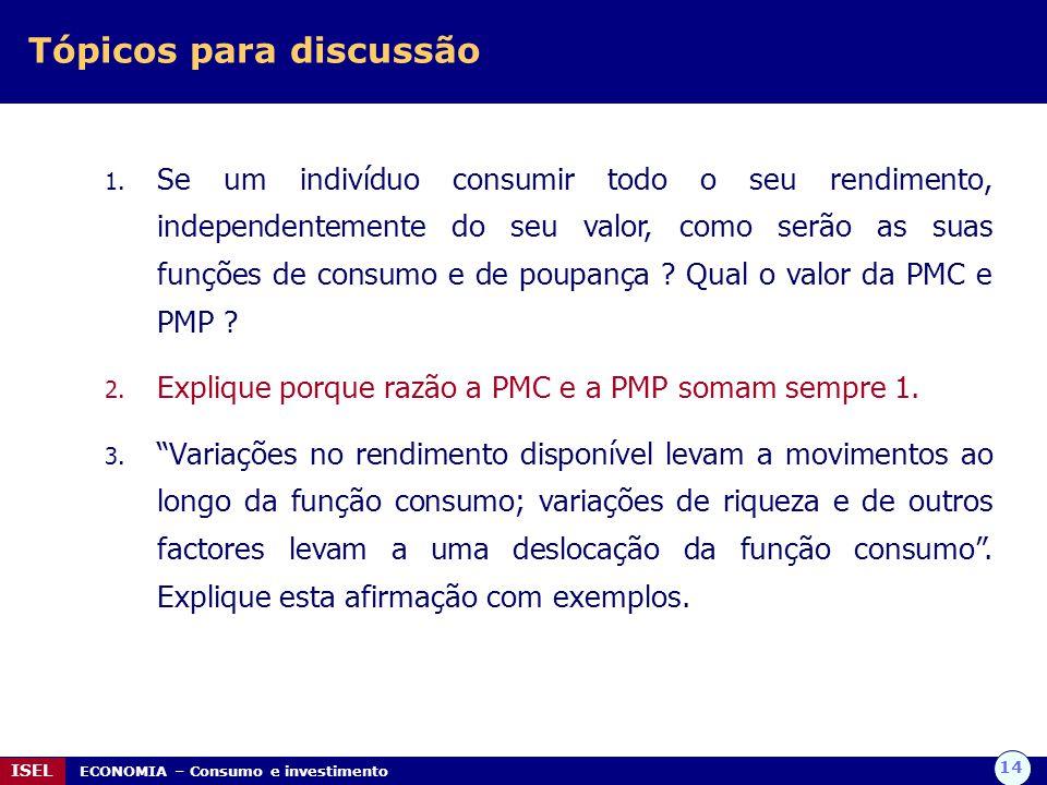 14 ISEL ECONOMIA – Consumo e investimento Tópicos para discussão 1.