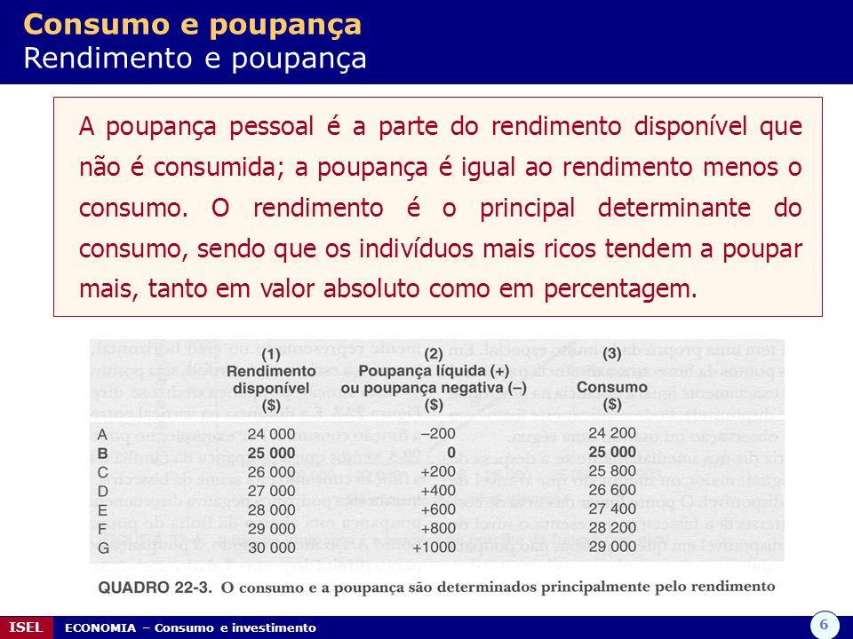 6 ISEL ECONOMIA – Consumo e investimento Consumo e poupança Rendimento e poupança A poupança pessoal é a parte do rendimento disponível que não é consumida; a poupança é igual ao rendimento menos o consumo.