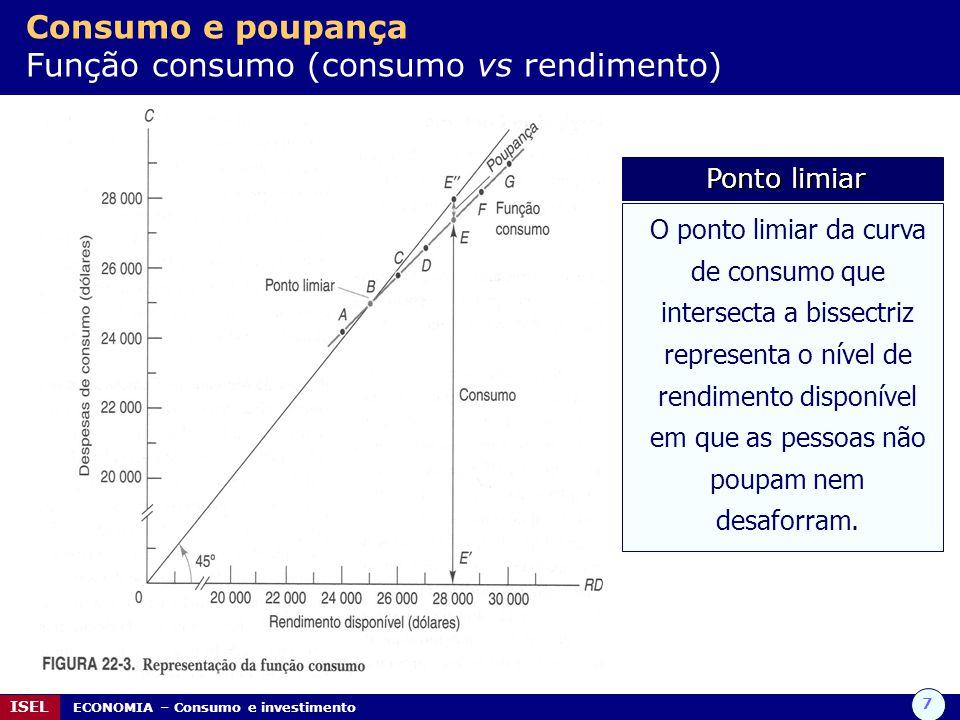 7 ISEL ECONOMIA – Consumo e investimento Consumo e poupança Função consumo (consumo vs rendimento) O ponto limiar da curva de consumo que intersecta a